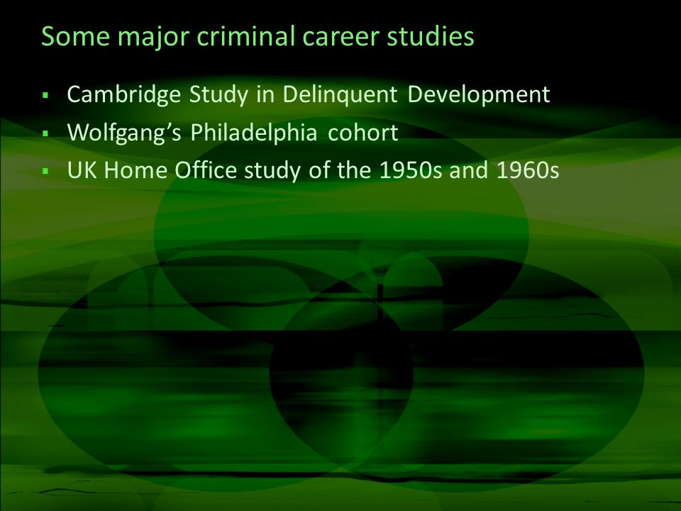 Some major criminal career studies