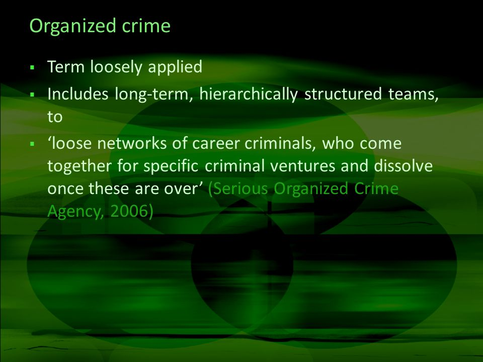 Organized crime Term loosely applied