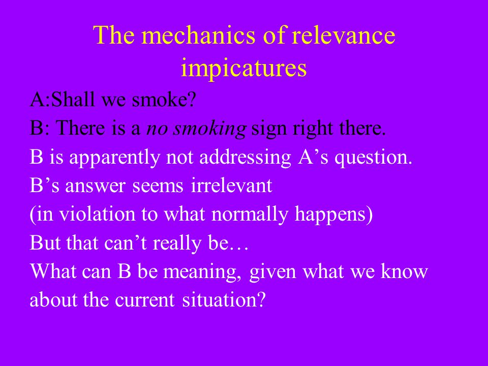 The mechanics of relevance impicatures
