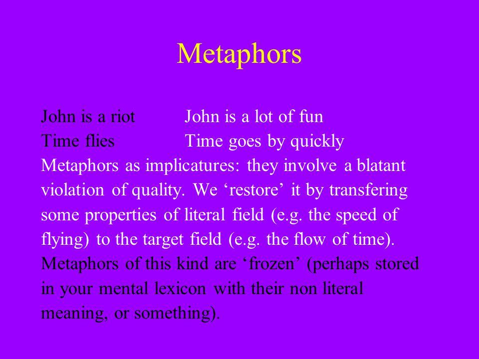 Metaphors John is a riot John is a lot of fun