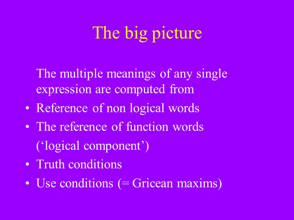 The big picture The multiple meanings of any single expression are computed from. Reference of non logical words.