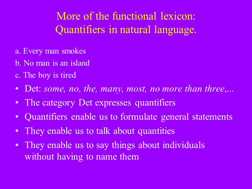 More of the functional lexicon: Quantifiers in natural language.