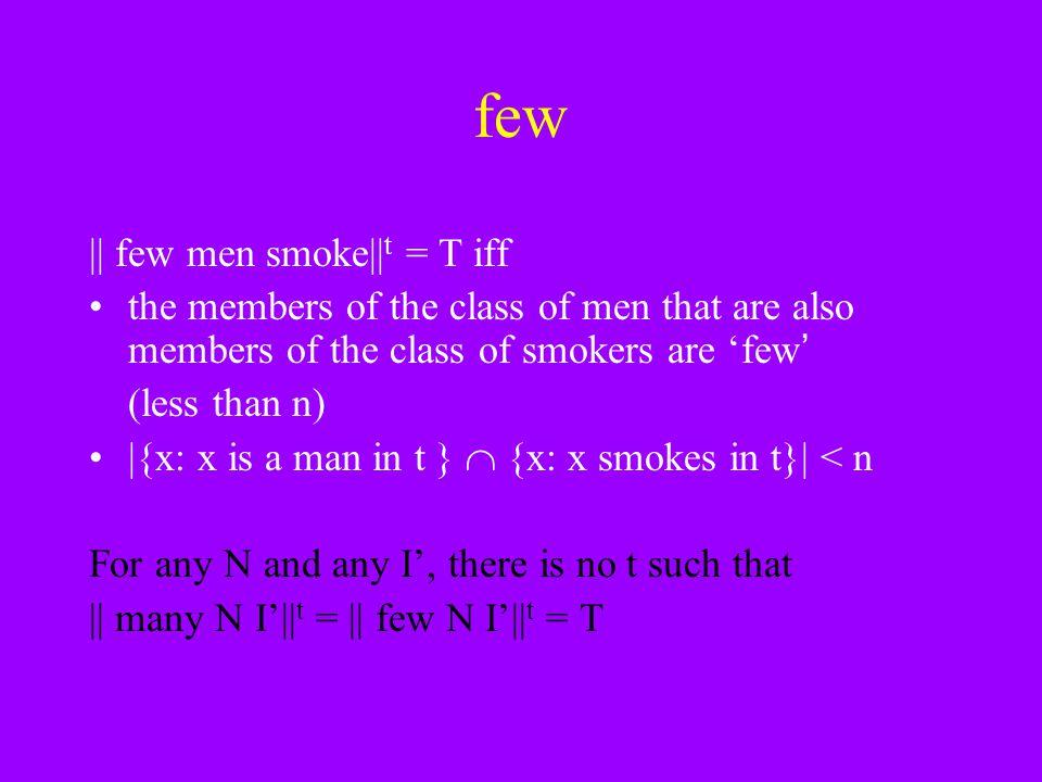 few || few men smoke||t = T iff