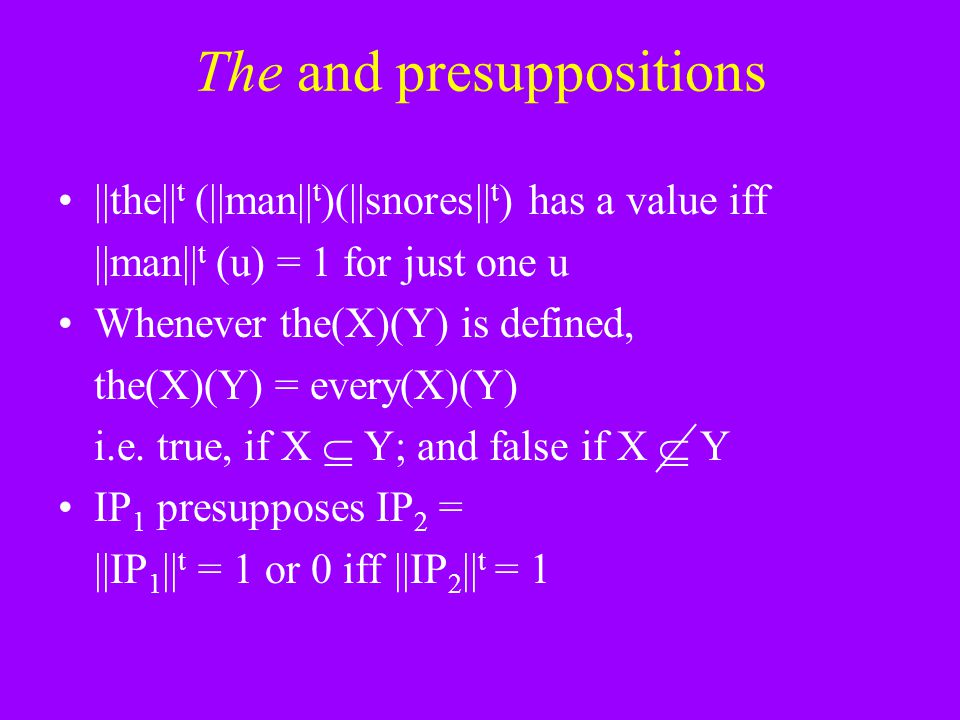 The and presuppositions