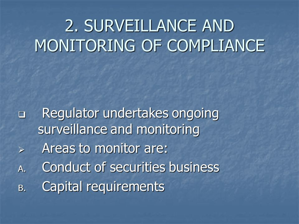 2. SURVEILLANCE AND MONITORING OF COMPLIANCE