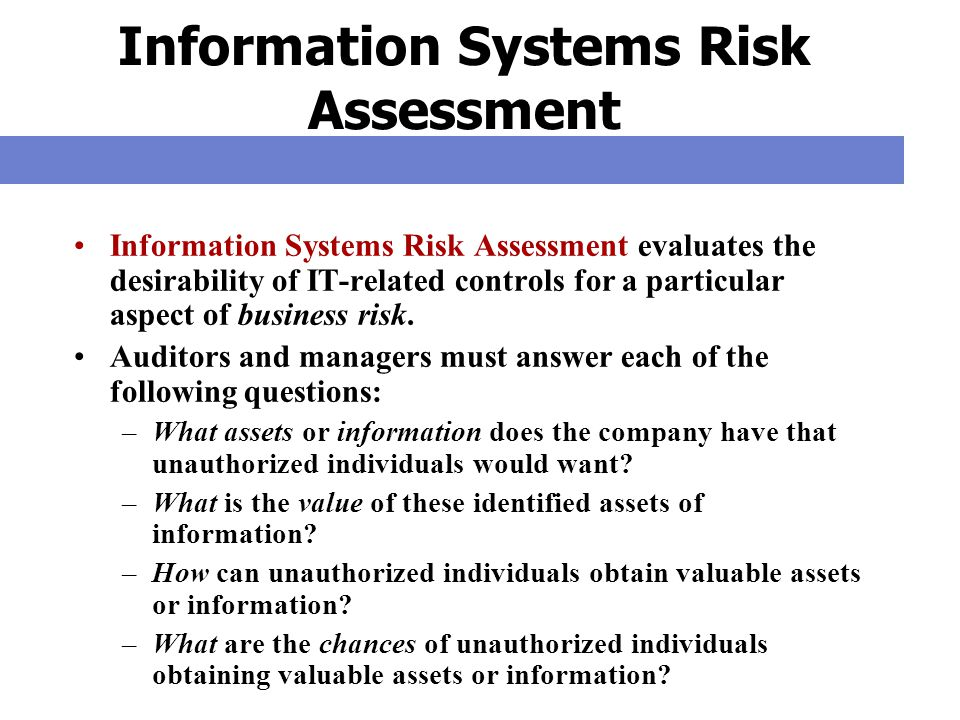 Information Systems Risk Assessment