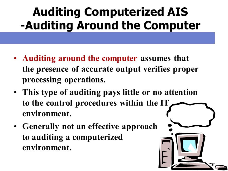 Auditing Computerized AIS -Auditing Around the Computer