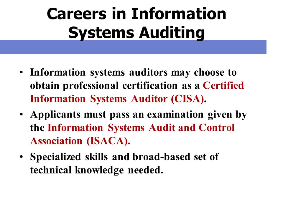 Careers in Information Systems Auditing