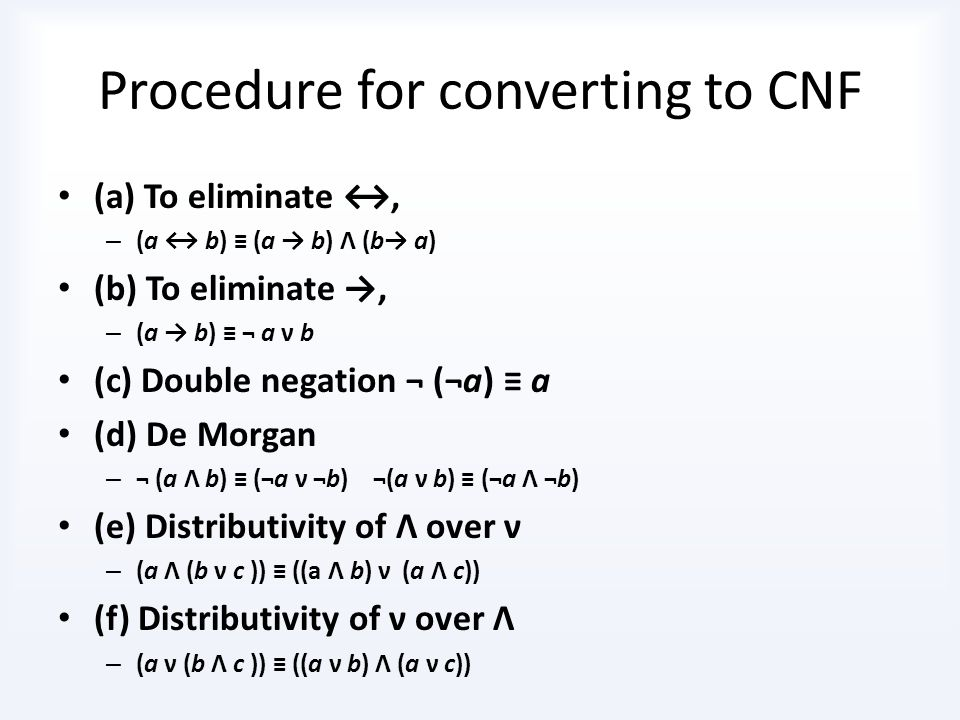 Procedure for converting to CNF