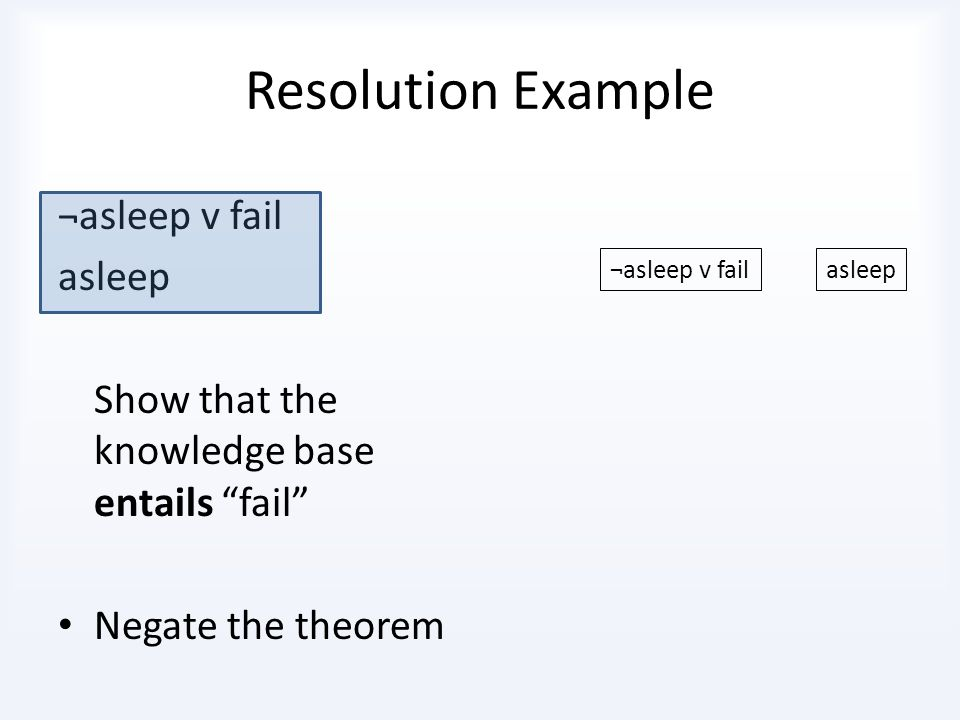 Resolution Example ¬asleep v fail asleep