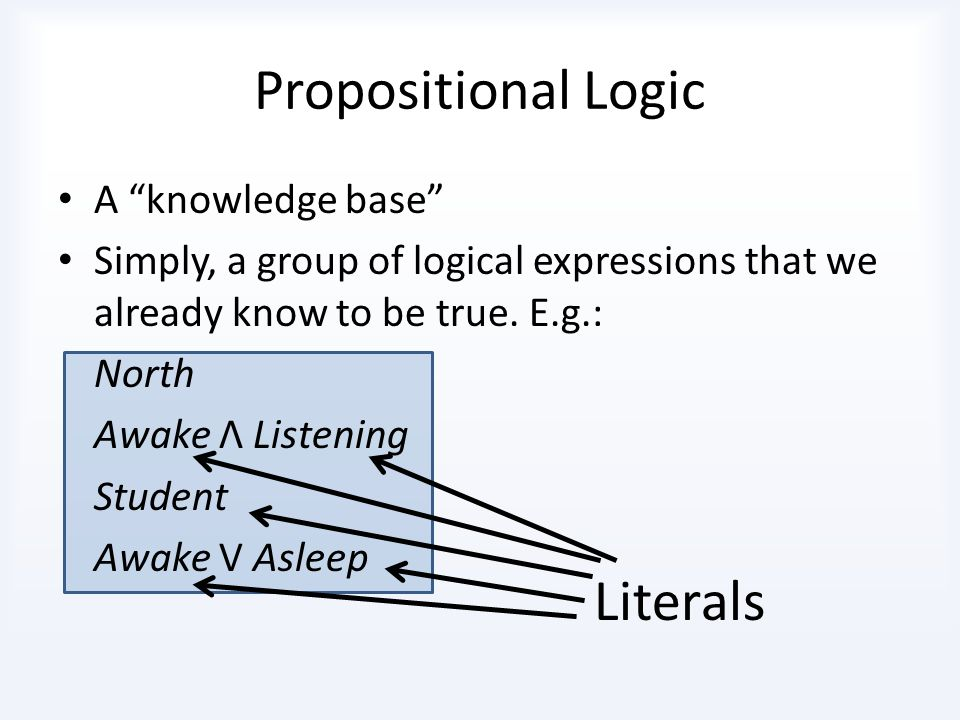 Propositional Logic Literals A knowledge base