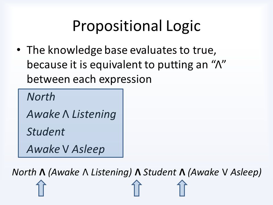Propositional Logic The knowledge base evaluates to true, because it is equivalent to putting an Λ between each expression.