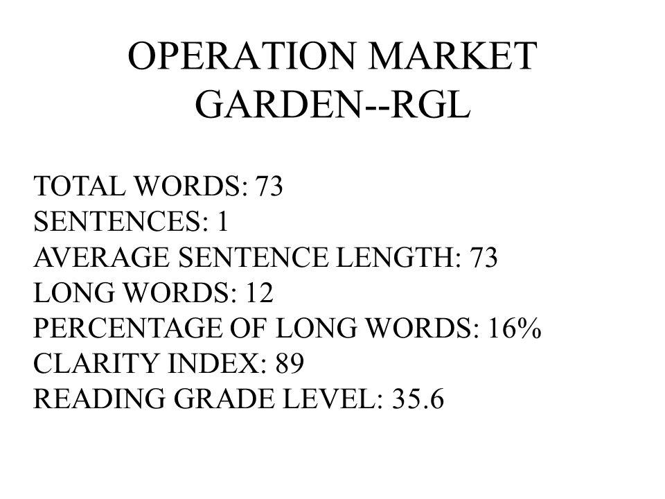 OPERATION MARKET GARDEN--RGL