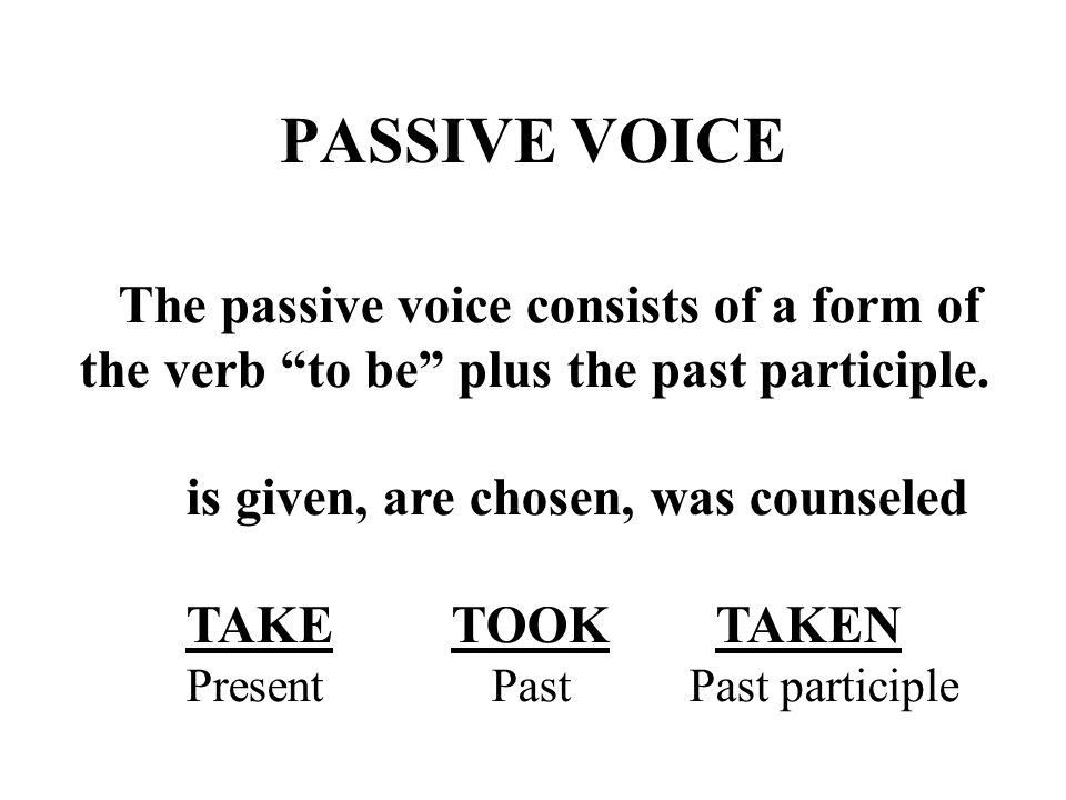 PASSIVE VOICE The passive voice consists of a form of