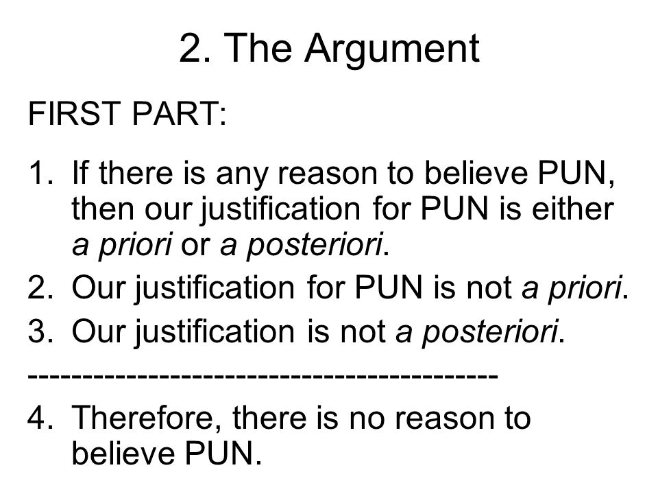 2. The Argument FIRST PART: