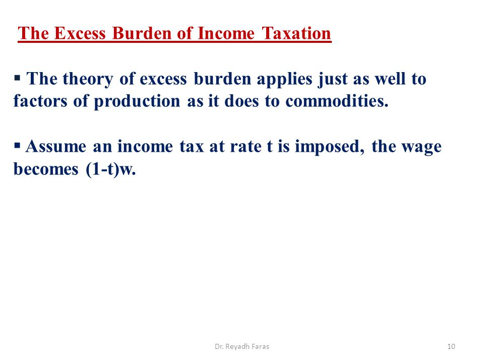 The Excess Burden of Income Taxation
