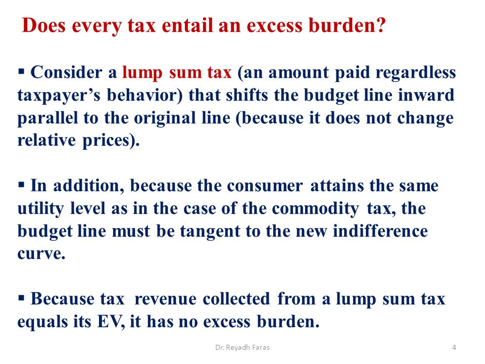 Does every tax entail an excess burden