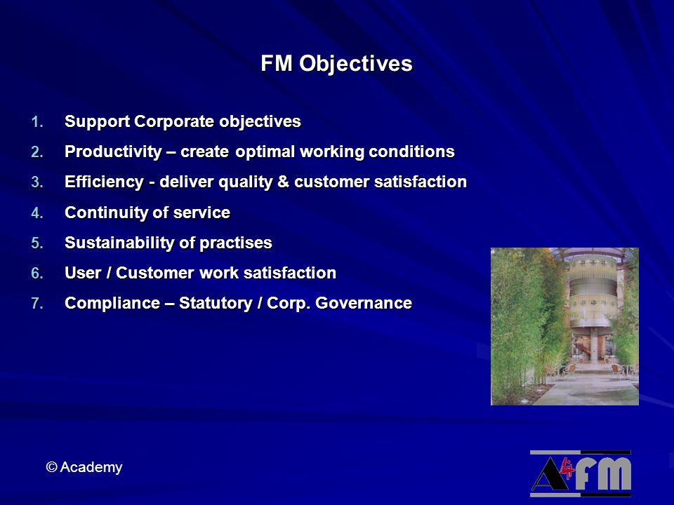 FM Objectives Support Corporate objectives