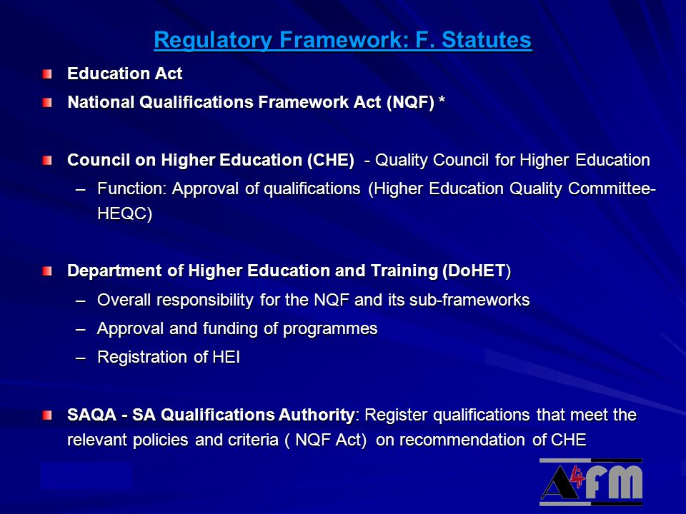 Regulatory Framework: F. Statutes