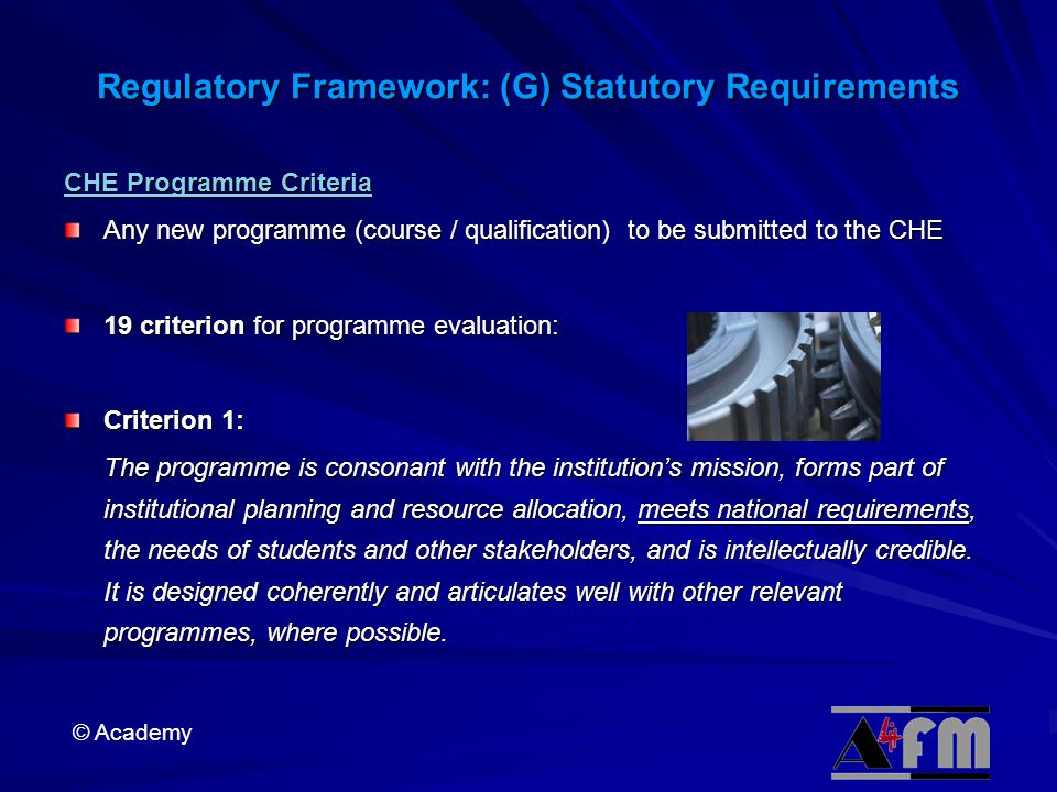 Regulatory Framework: (G) Statutory Requirements