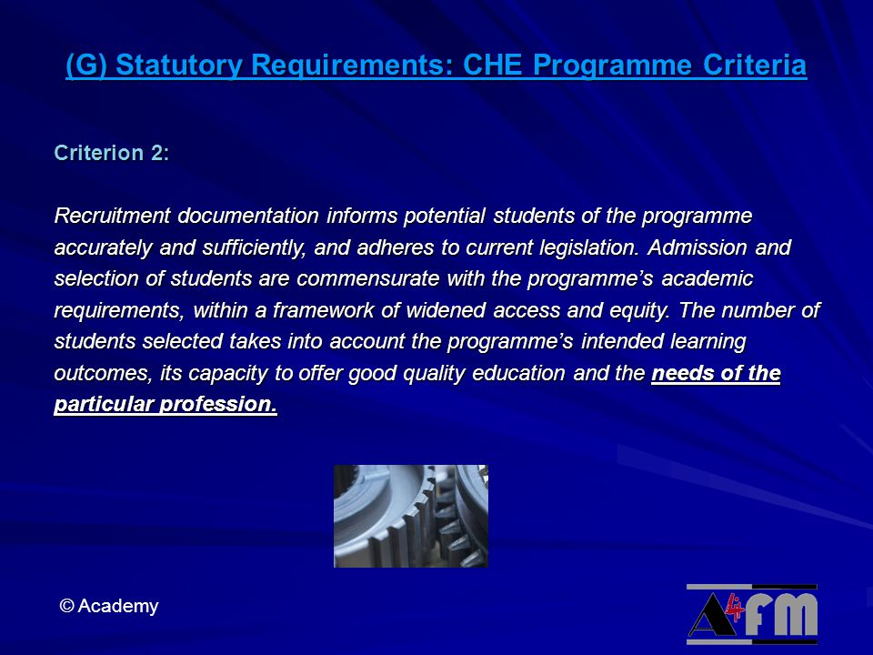 (G) Statutory Requirements: CHE Programme Criteria