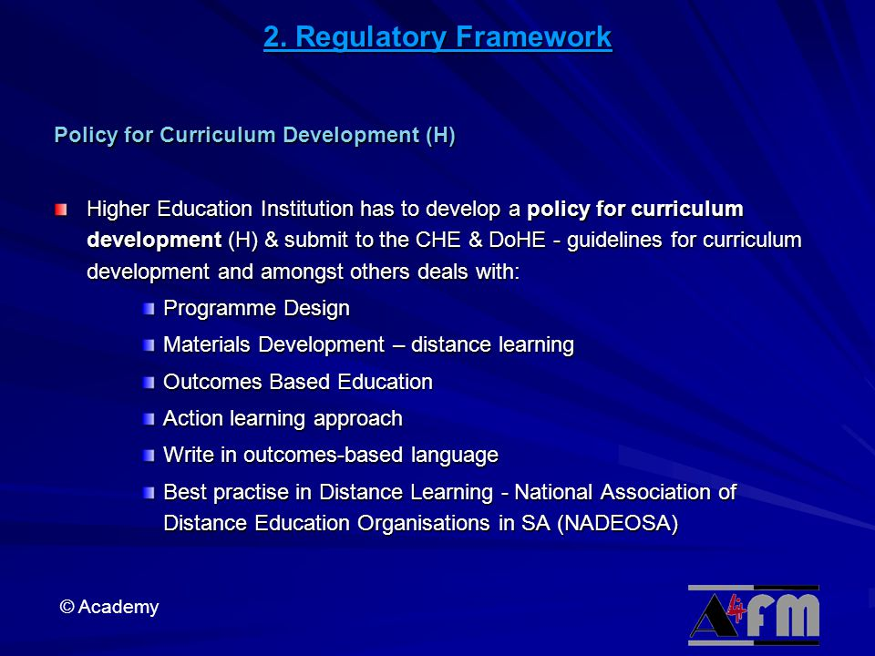 2. Regulatory Framework Policy for Curriculum Development (H)