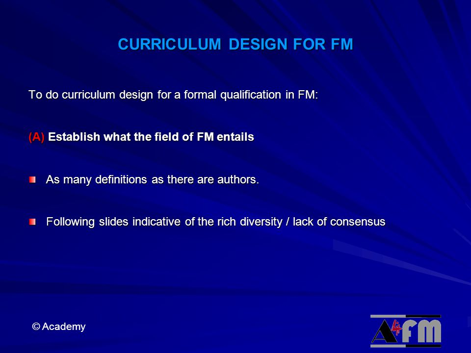 CURRICULUM DESIGN FOR FM