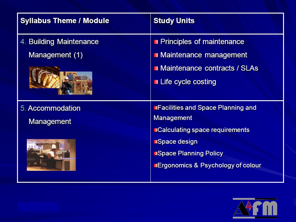 Syllabus Theme / Module Study Units 4. Building Maintenance