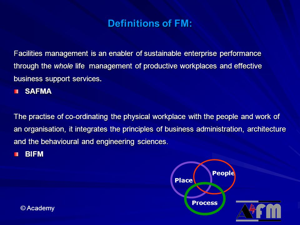 Definitions of FM: Facilities management is an enabler of sustainable enterprise performance.