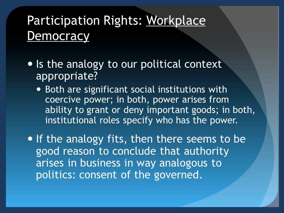 Participation Rights: Workplace Democracy