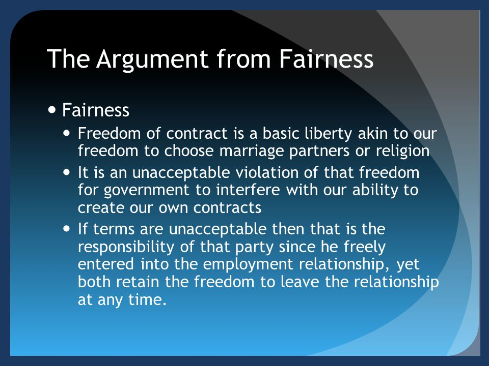 The Argument from Fairness