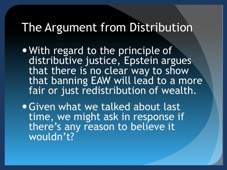 The Argument from Distribution