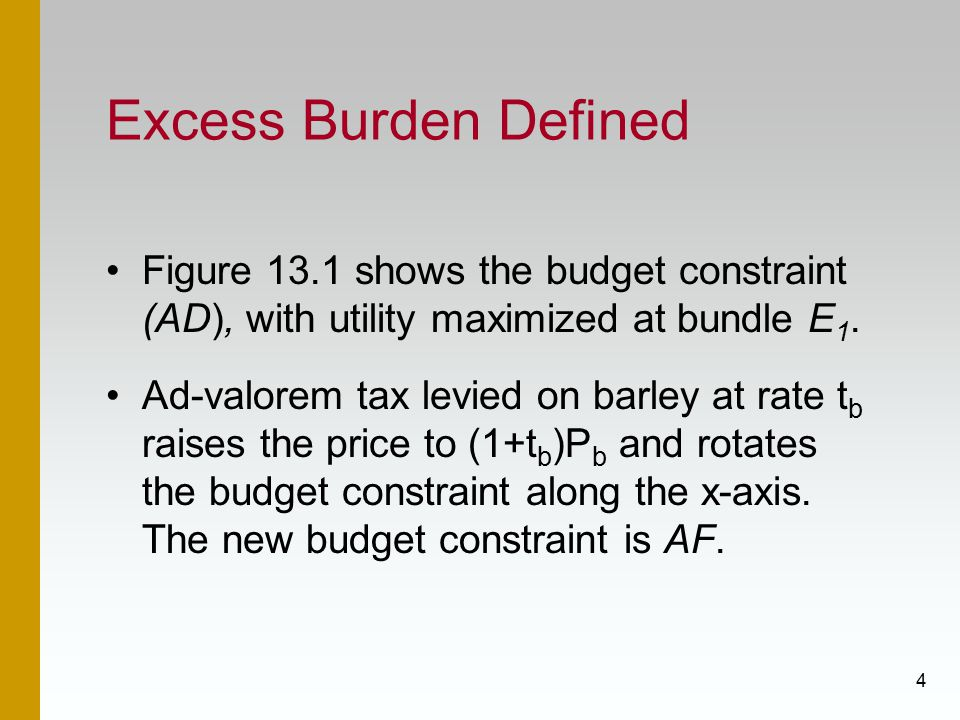 Excess Burden Defined Figure 13.1 shows the budget constraint (AD), with utility maximized at bundle E1.