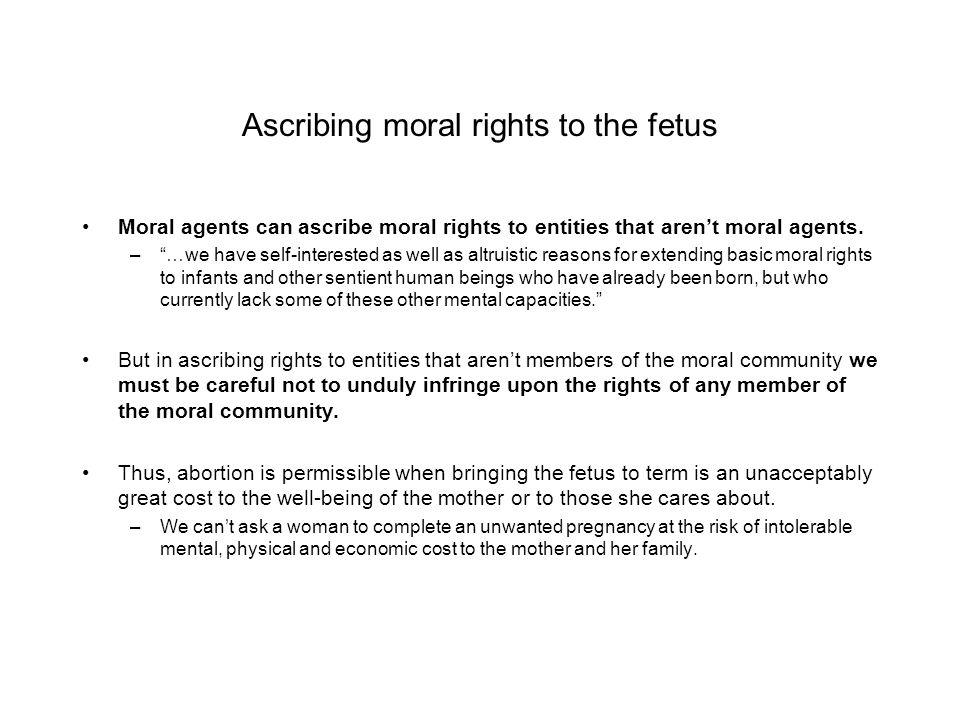 Ascribing moral rights to the fetus