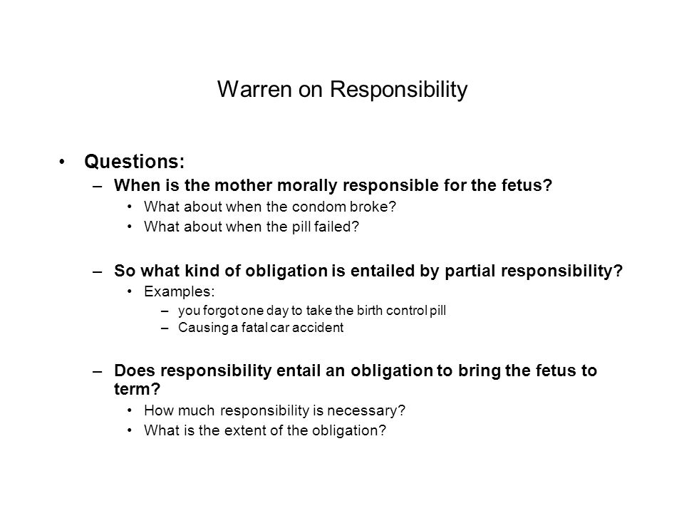 Warren on Responsibility