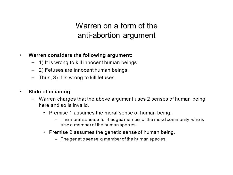 Warren on a form of the anti-abortion argument