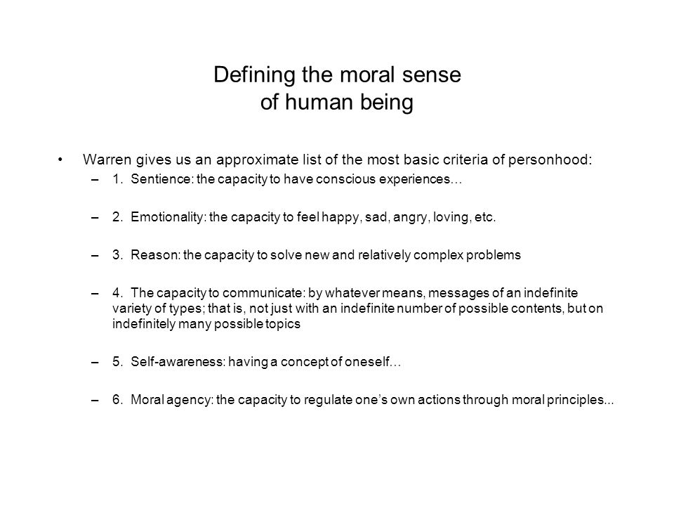 Defining the moral sense of human being