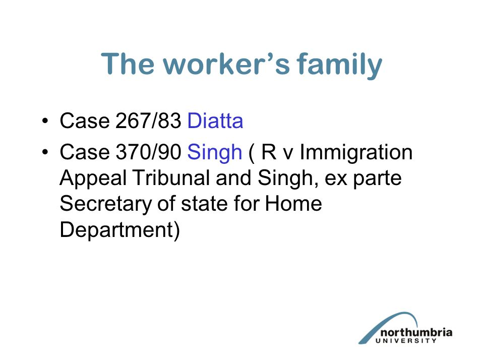 The worker's family Case 267/83 Diatta