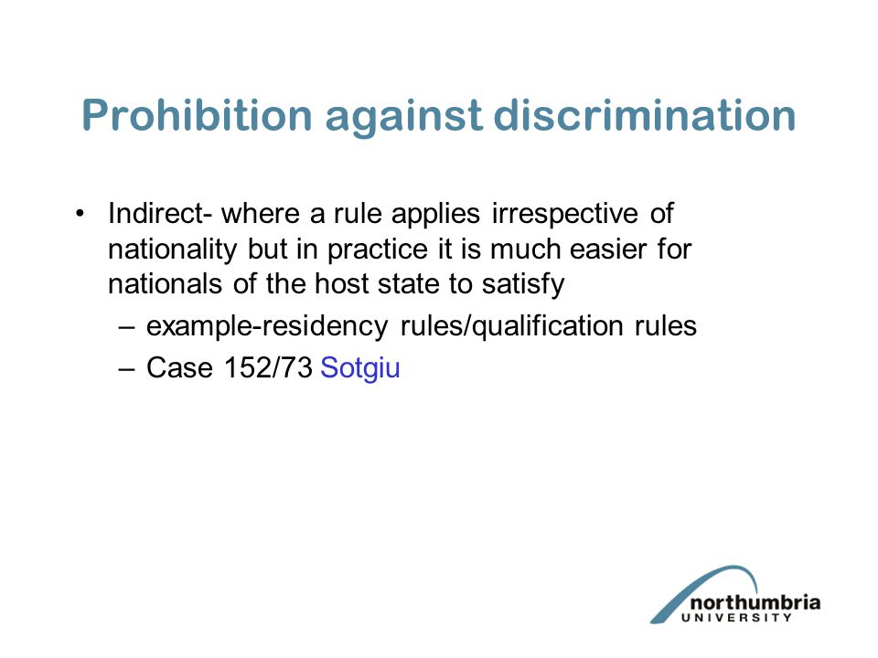 Prohibition against discrimination