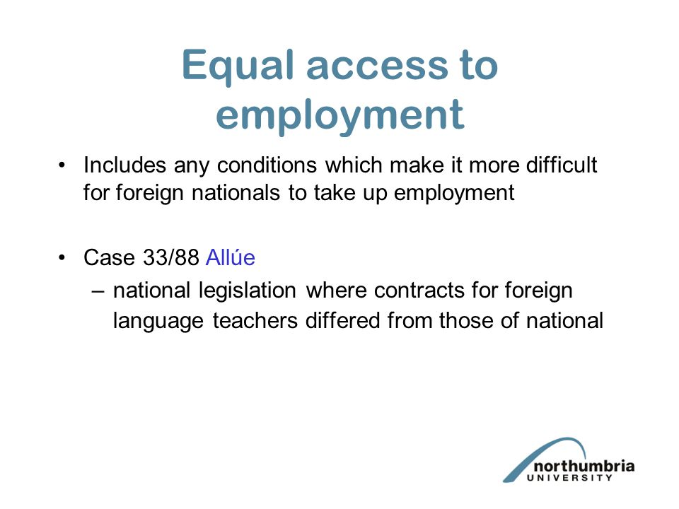 Equal access to employment