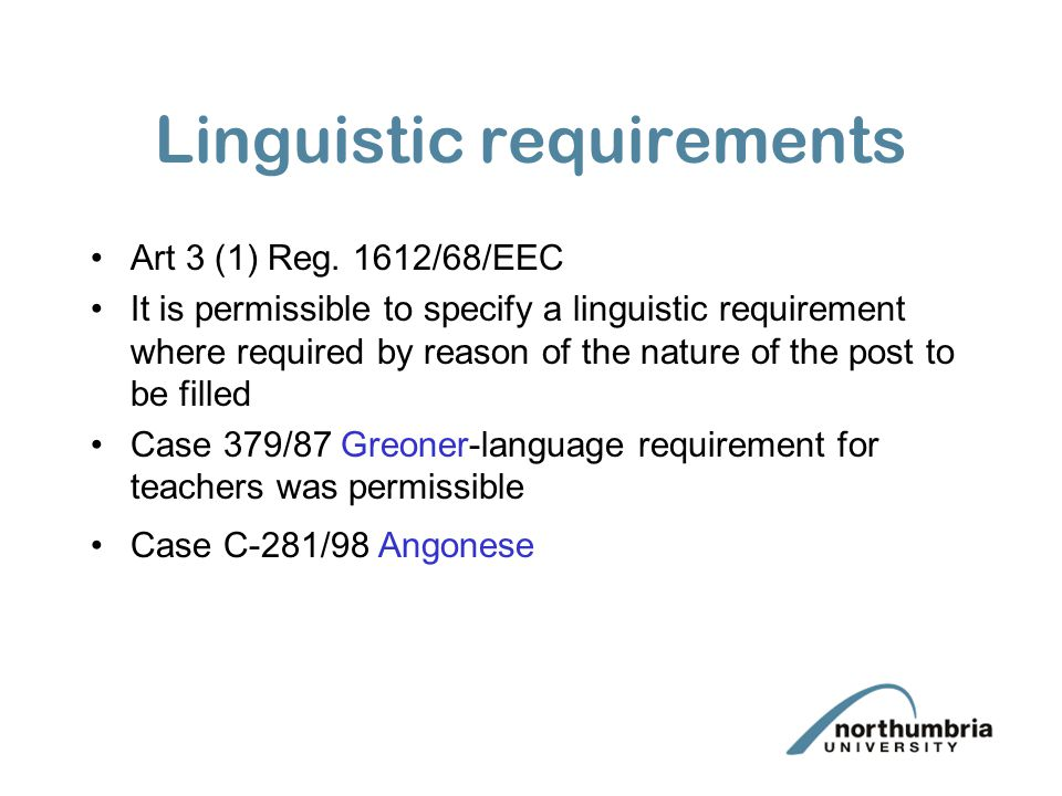 Linguistic requirements