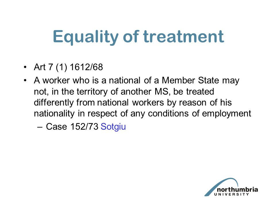 Equality of treatment Art 7 (1) 1612/68