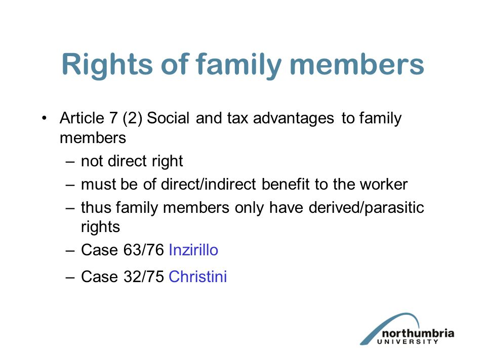 Rights of family members