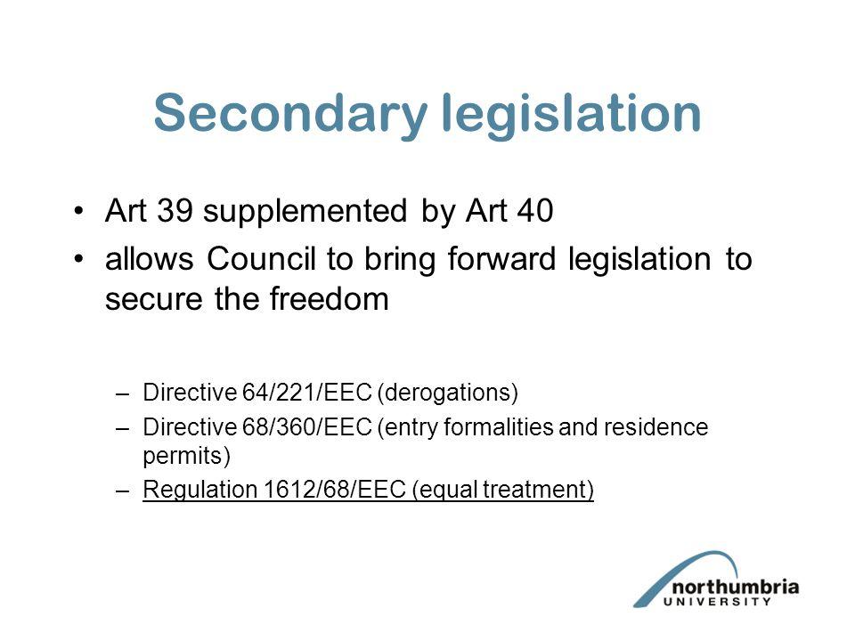 Secondary legislation