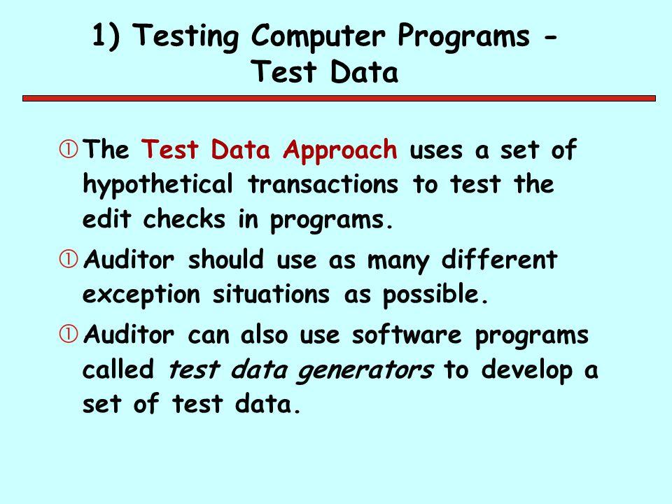 1) Testing Computer Programs - Test Data