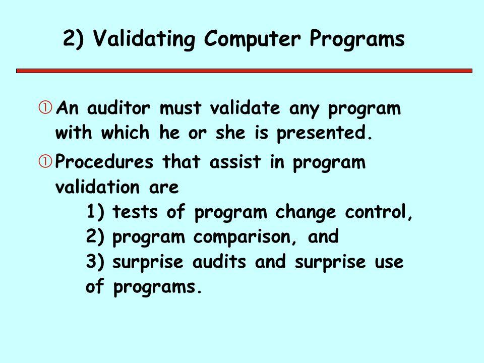 2) Validating Computer Programs