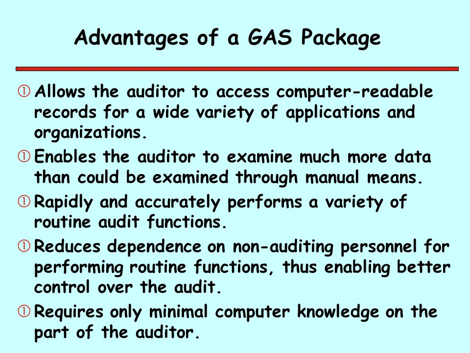 Advantages of a GAS Package