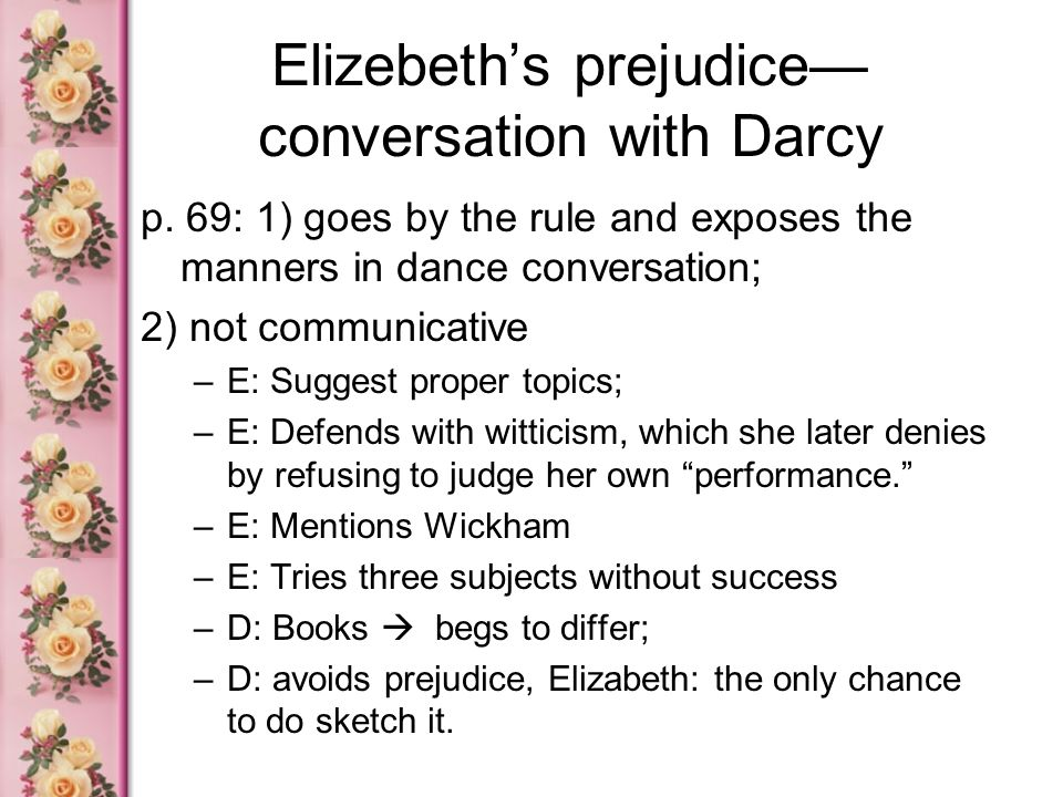 Elizebeth's prejudice—conversation with Darcy