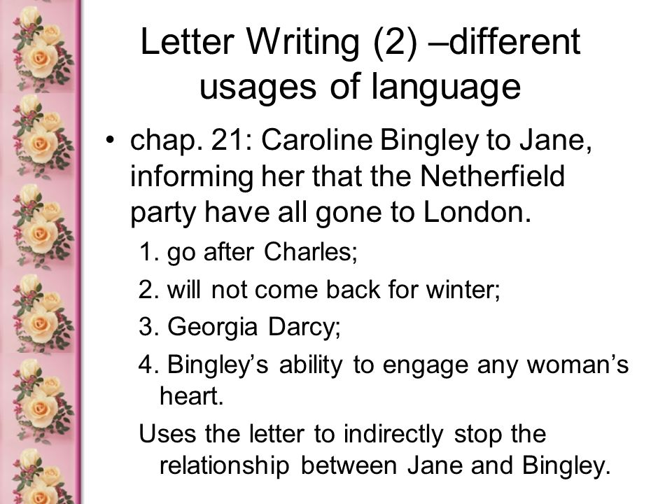 Letter Writing (2) –different usages of language