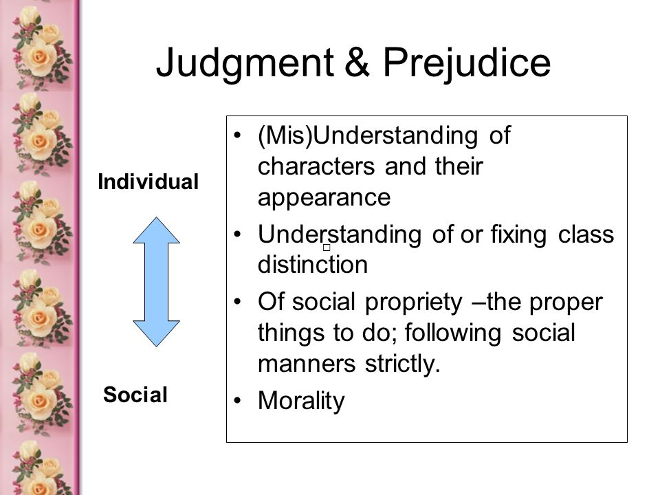 Judgment & Prejudice (Mis)Understanding of characters and their appearance. Understanding of or fixing class distinction.
